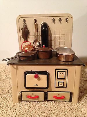 Vintage MFZ Toy Tin Stove - 9 Pieces (Reduced)
