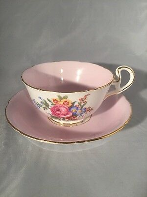 VINTAGE ROYAL GRAFTON CUP & SAUCER Pink And Gold With Roses