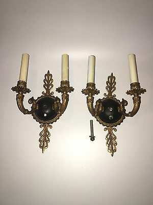 Antique Wall Light Sconce Ornate Heavy Brass Art Deco Victorian Candle Pair