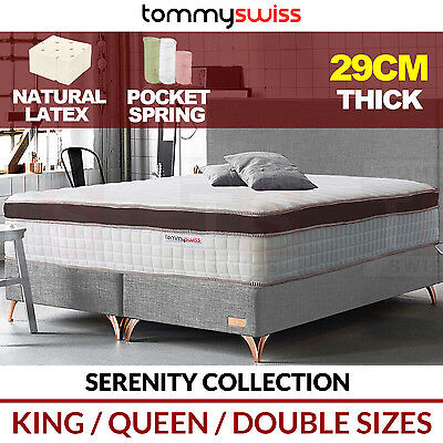 TOMMY SWISS: PREMIUM King, Queen & Double Latex Pocket Spring Mattress 29cm