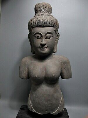 Khmer Sculpture Sandstone Female 'uma' Figure 'baphuon Style' Cambodia 11/12Th C