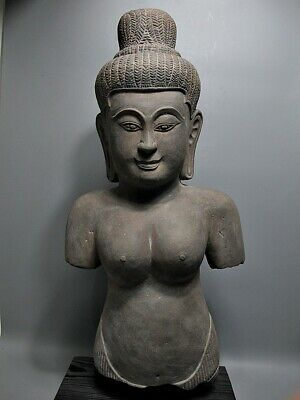 Khmer Sculpture Sandstone 'Uma' Figure 'Baphuon Style' Stone Relic 15/16Th C
