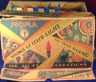 Antique Vintage Noma Christmas Lights Box Blinker Bulb 1929 Works 2 Boxes C9