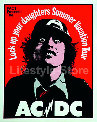 Rare AC/DC Lock Up Your Daughters Summer Vacation Tour Poster w/Angus Young ACDC