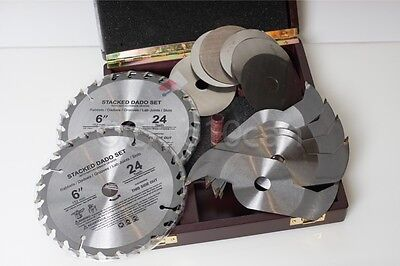 """6"""" In 24-Tooth Stacked Dado Saw Blade Set in Wood Box with Anti-KickBack Design"""