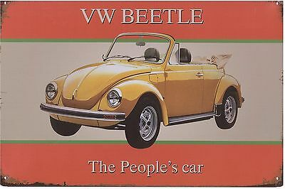 Metal Sign, VW Beetle, The People's Car, Volkswagon, Den or Garage Decor