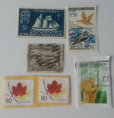 Canada and Canadian Islands used stamps on and off paper