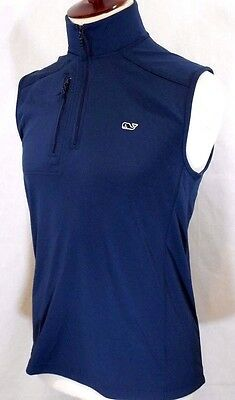VINEYARD VINES Mens Small/S BLUE/TEAL Performance Jersey 1/4 Zip GOLF VEST $120