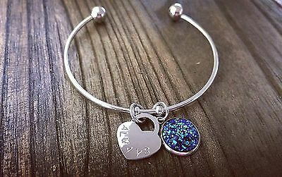Stainless Steel Silver Faux Druzy Blue Sparkly Charm & Heart Stamped Cuff Bangle
