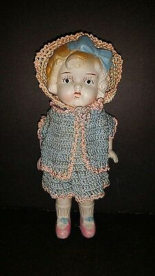"Vintage 1920's All Bisque Jointed doll 7-1/2"" MOLDED CURLY HAIR Frozen Charlotte"