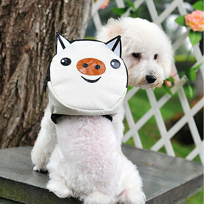 Pet Dog Bag Backpack With Leash Cute White Pig Outdoor Travel Snack Bag