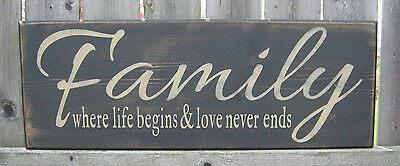 """Primitive Country Family~ Where Life Begins And Love Never Ends 20""""  Sign"""