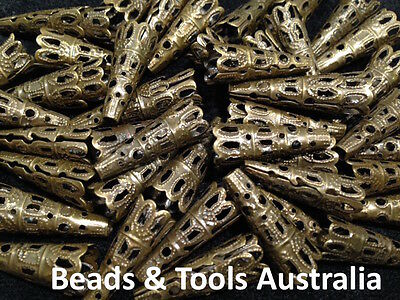 Bead Caps Bronze - Bead Cone Bronze - 22mm x 10mm- Fast Shipping - BEADS & TOOLS