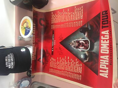 Machine Gun Kelly autographed Alpha Omega Tour Poster and new hat merchandise!