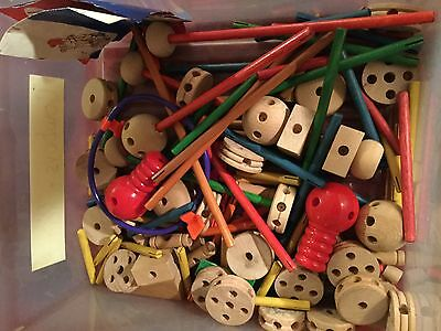 TinkerToy Lot Building Wood Plastic Construction Tinker Toy some vintage