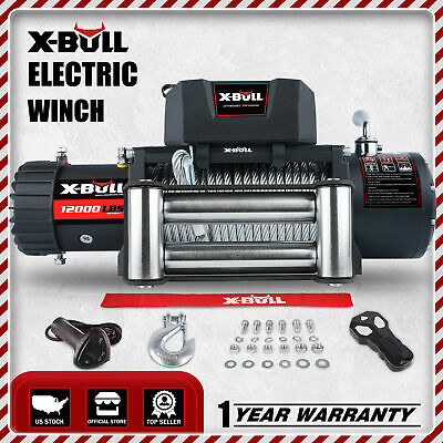 X-BULL 12000LBS Electric Winch 12V Towing Truck Trailer Steel Cable OffRoad Sale