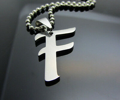 Hot letter F 1pcs Women/ Men's Silver 316L Stainless Steel  Pendant Necklace
