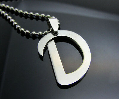 Hot letter D 1pcs Women/ Men's Silver 316L Stainless Steel  Pendant Necklace