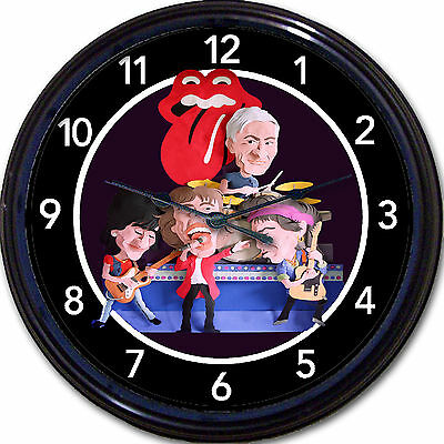 Rolling Stones Wall Clock Mick Jagger Keith Richards Ronnie Wood Charlie Watts