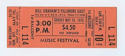 Bill Graham Fillmore East Ticket MUSIC FESTIVAL 1970 May 10 3PM Unused
