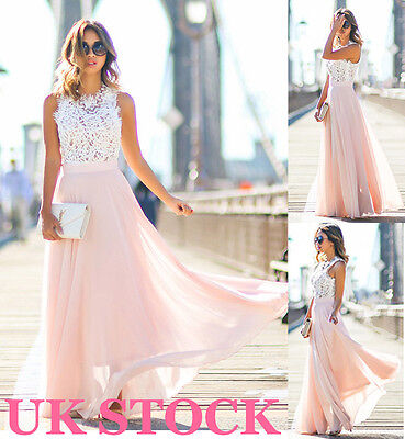 New Womens Long Lace Chiffon Evening Formal Party Ball Gown Prom Brides Dress UK