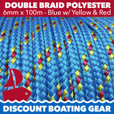 6mm x 100m Double Braid Polyester Yacht Rope | Blue & Yellow / Red Sailing Rope