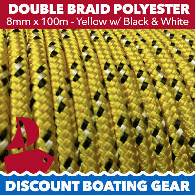 8mm Gold & Black Double Braid Polyester Yacht Rope | 100m Marine Sailing Rope