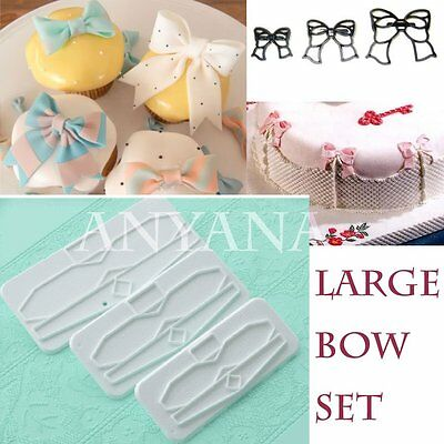 big 3Pcs Bow set Icing Cupcake Decorating Mold Embosser Cutter Mould Sugarcraft