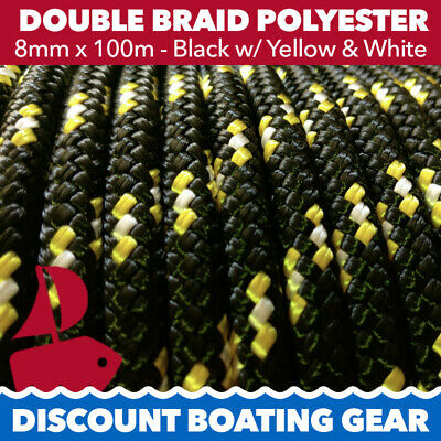 100m x 8mm Double Braid Polyester Yacht Rope | 8mm Black & Yellow Sailing Rope