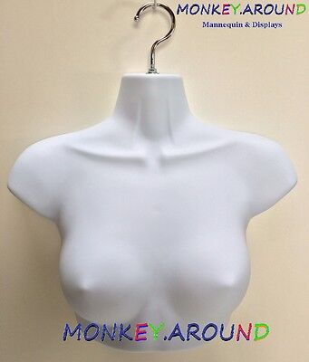 1 Female Mannequin,White Sm Upper Torso Body Form +1 Hook - Display Dress Shirts