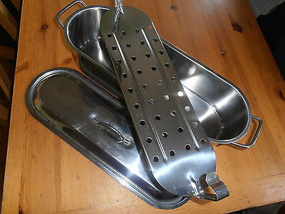 """Large Stainless Steel Fish Kettle / Poacher / Steamer 18"""" X 6"""" & Perforated Rack"""