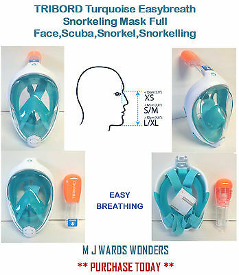 TRIBORD Turquoise Easybreath Snorkeling Mask Full Face,Scuba,Snorkel,Snorkelling