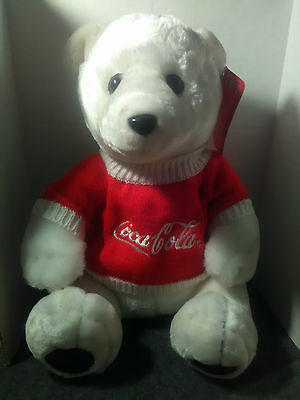 Coca Cola Plush White Polar Bear Red Coca Cola Sweater Advert On Front Nwt Minty