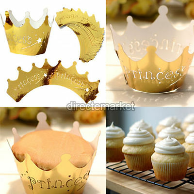 25pcs Gold Crown Cupcake Wrappers Wraps Case Wedding Birthday Party Decor Set