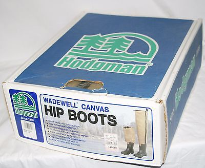 Hodgman Wadewell Insulated Canvas Hip Boots Waders Felt Sole Size 10 Men New OS