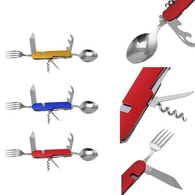 6 in 1 Folding Spoon Fork Knife Outdoor Camping Picnic Stainless Steel Cutlery