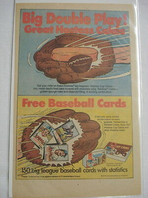 1978 Ad Hostess Twinkies and Cup Cakes and Baseball Cards