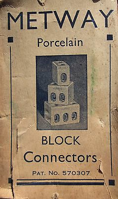 9 x English Made  Porcelain Connectors - 2 Way, 15Amp NOS