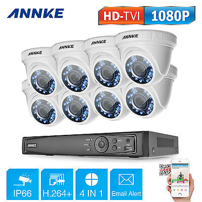 ANNKE 1080P TVI Surveillance 8CH DVR Indoor Outdoor Security Camera System H.264