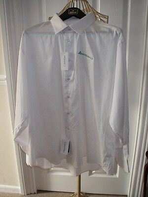 BNWT CALVIN KLEIN WHITE LONG SLEEVED SHIRT with embroidered insignia 2XL