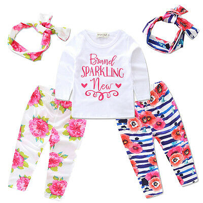 3pcs Toddler Kids Baby Girls Tops T-shirt+Leggings Pants Headband Outfits Set