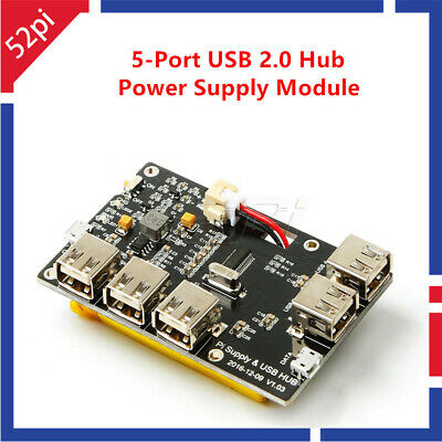 5-Port USB 2.0 Hub Power Supply Module for Raspberry Pi 3/2 Model B/A+/Pi Zero