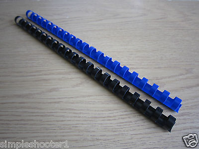 A4 14Mm Round Plastic Binding Comb 21 Rings Black/blue 20/100 Pack*new Free P&p*