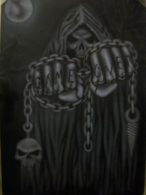 Game Over SKULLS ZOMBIES DEATH SKELETON Step by Step Airbrush Stencil Masking