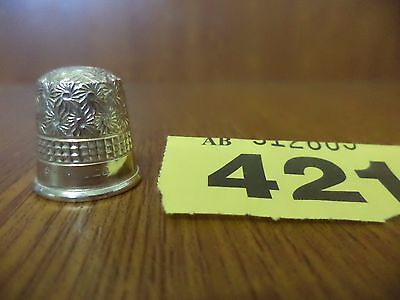 Solid Silver Size 6 Floral Decoration Thimble - B'ham / 1926 / James Swann & Son
