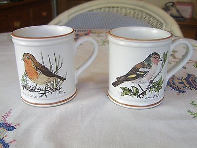 2 Vintage Denby Pottery Birds Of A  Feather Mugs
