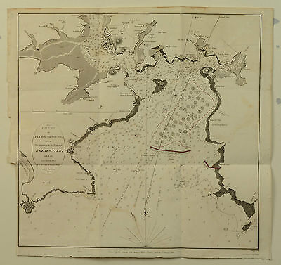 1812 Antique Chart of Plymouth Sound - James Basire Devon Map, Mount Edgecombe