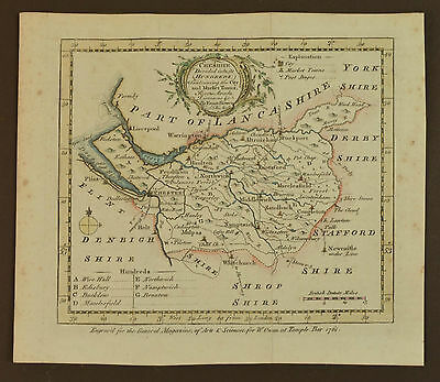GENUINE ANTIQUE 1761 Map of Cheshire by Bowen - Chester