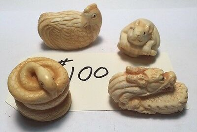 4 ,, Japanese Ivory colored Bone netsuke , Estate Sale