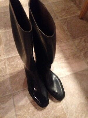 Black Rubber Size 7 Riding Boots